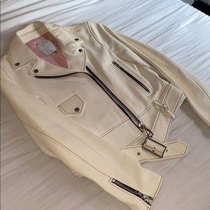 Sandro cream leather moto jacket! Size 2